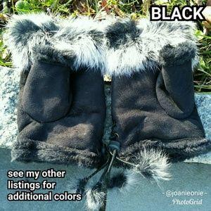 $12 ADD ON - Black Faux FUR Fingerless Gloves
